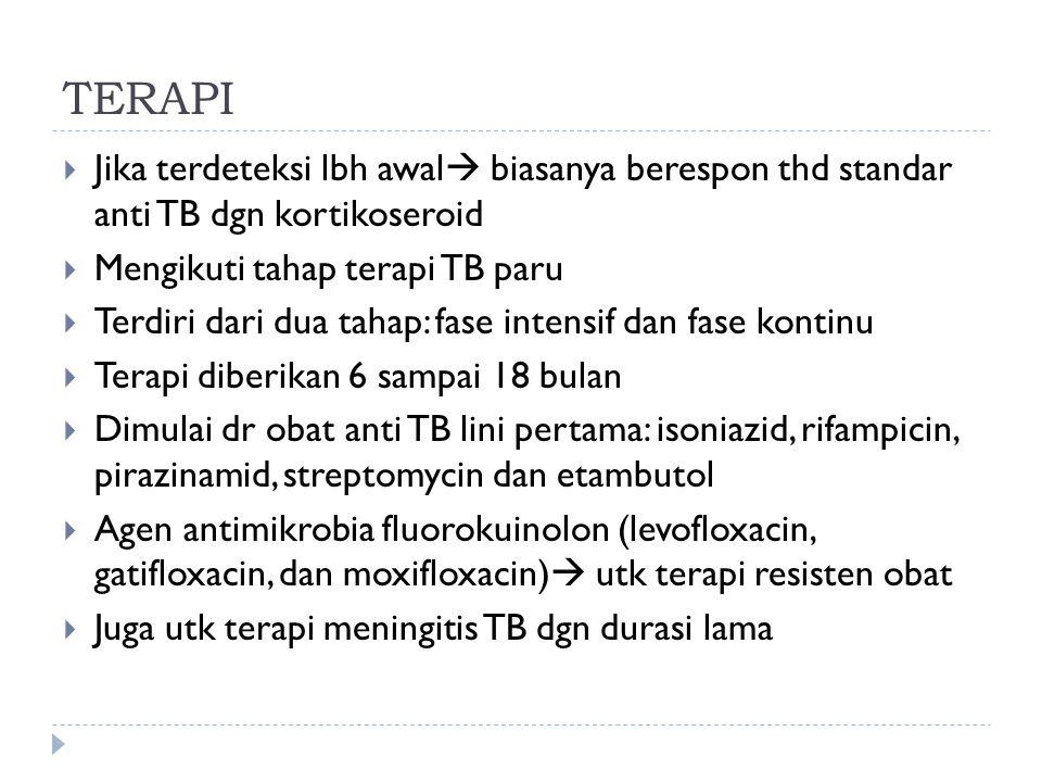 TERAPI Jika terdeteksi lbh awal biasanya berespon thd standar anti TB dgn kortikoseroid. Mengikuti tahap terapi TB paru.