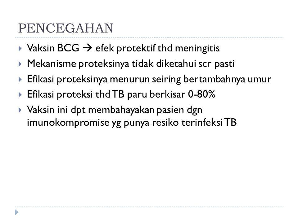 PENCEGAHAN Vaksin BCG  efek protektif thd meningitis