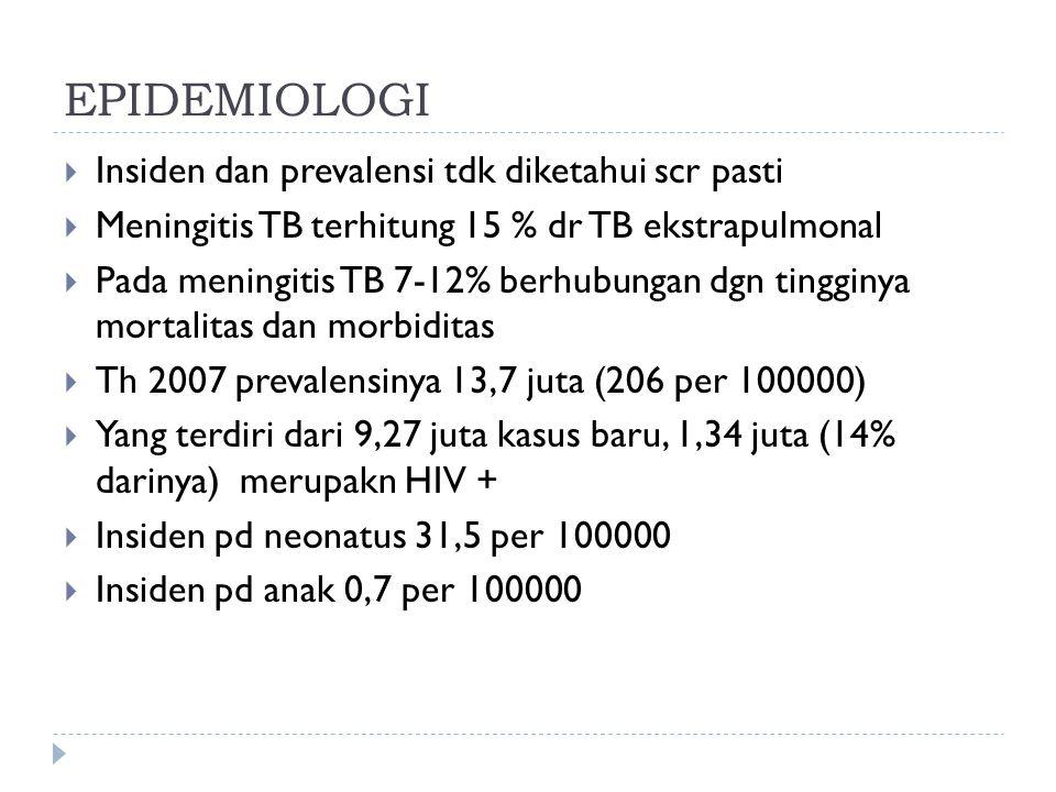 EPIDEMIOLOGI Insiden dan prevalensi tdk diketahui scr pasti