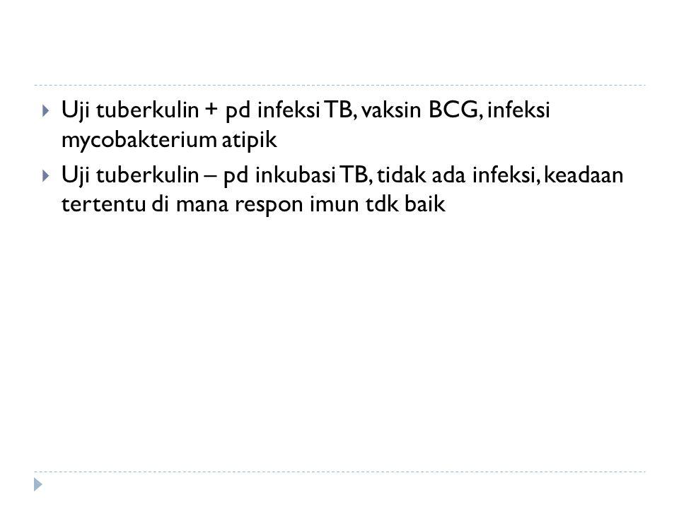 Uji tuberkulin + pd infeksi TB, vaksin BCG, infeksi mycobakterium atipik