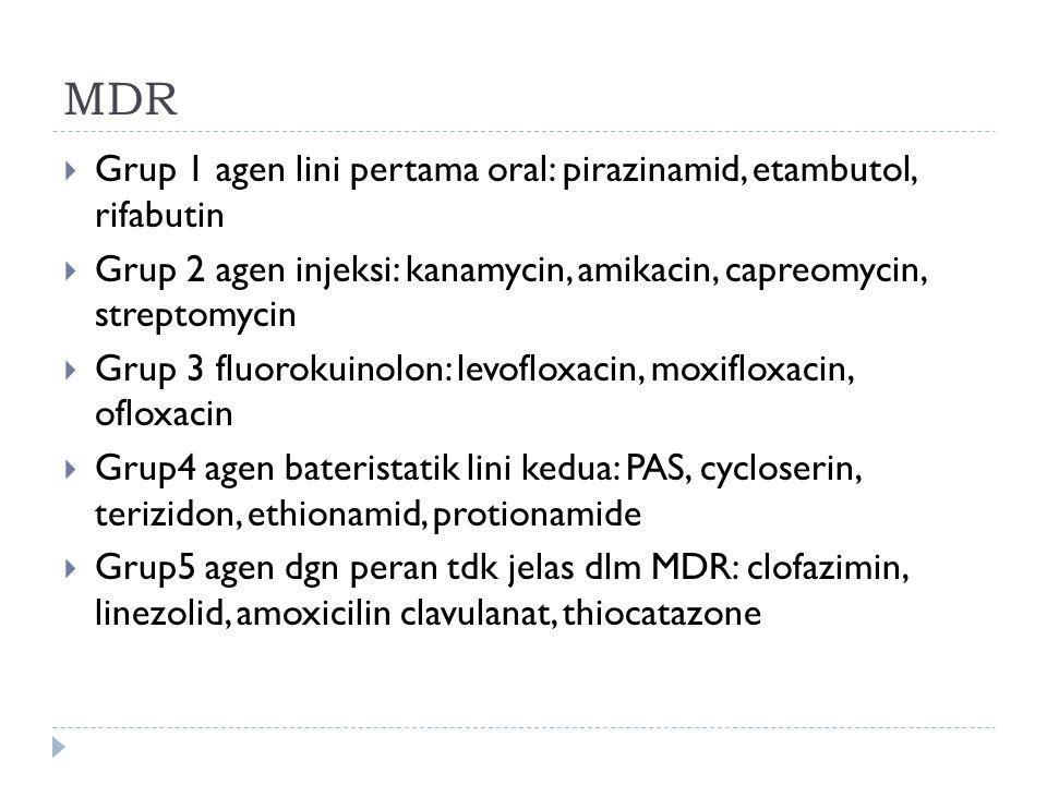 MDR Grup 1 agen lini pertama oral: pirazinamid, etambutol, rifabutin