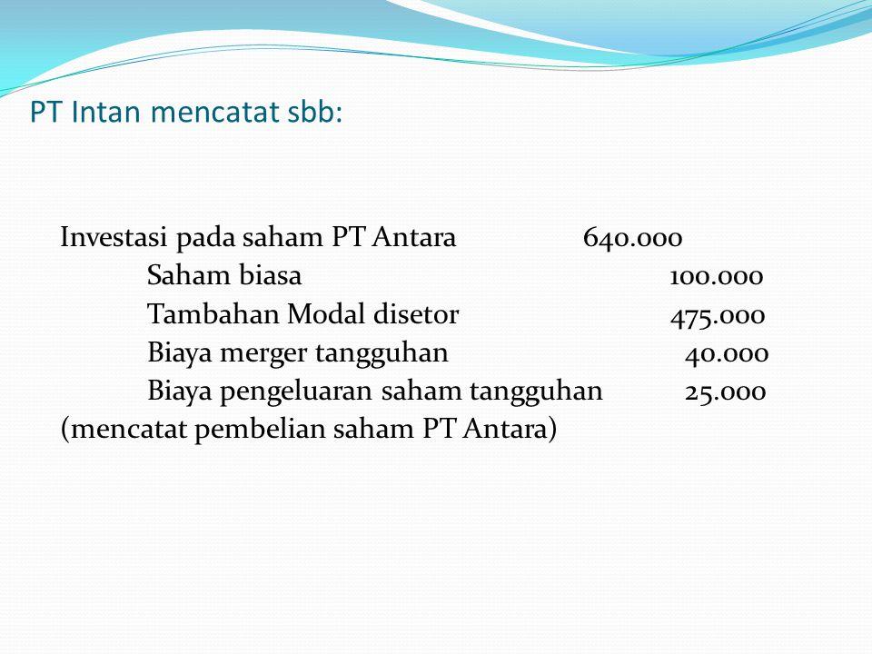 PT Intan mencatat sbb: