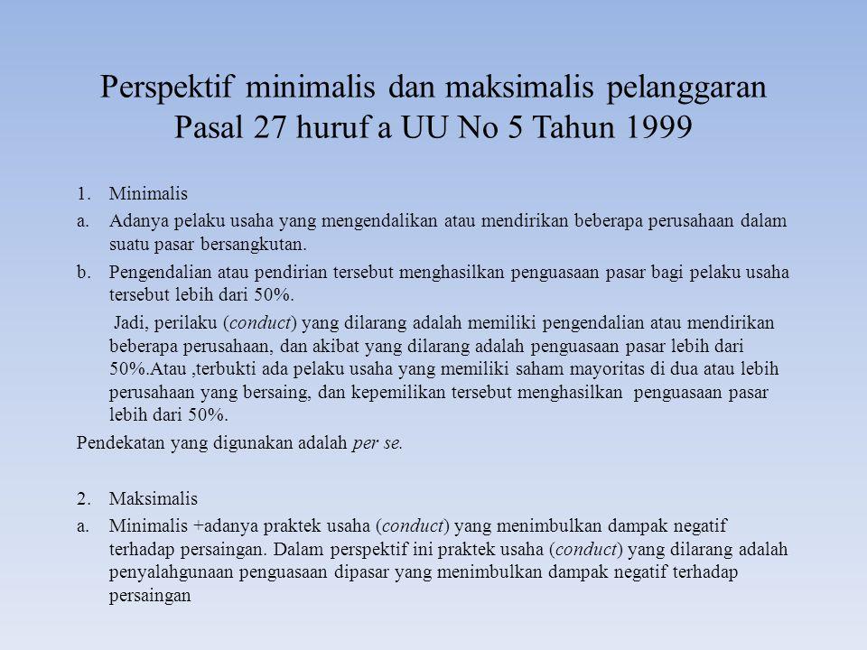 Perspektif minimalis dan maksimalis pelanggaran Pasal 27 huruf a UU No 5 Tahun 1999