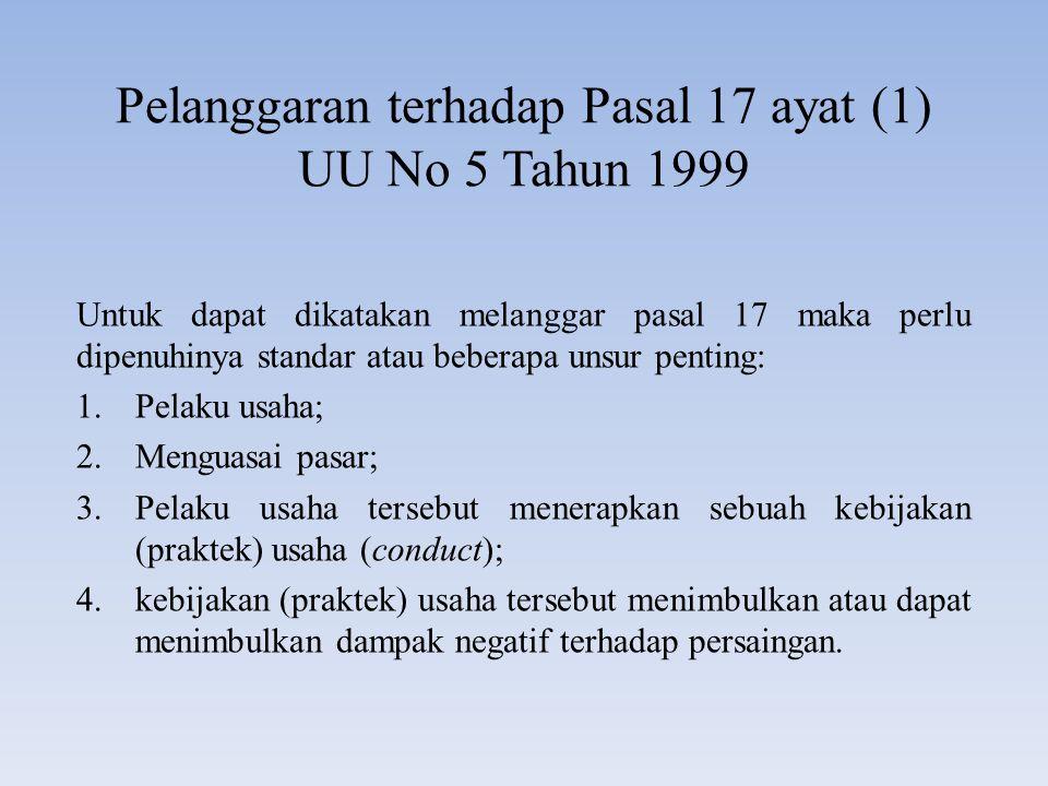 Pelanggaran terhadap Pasal 17 ayat (1) UU No 5 Tahun 1999