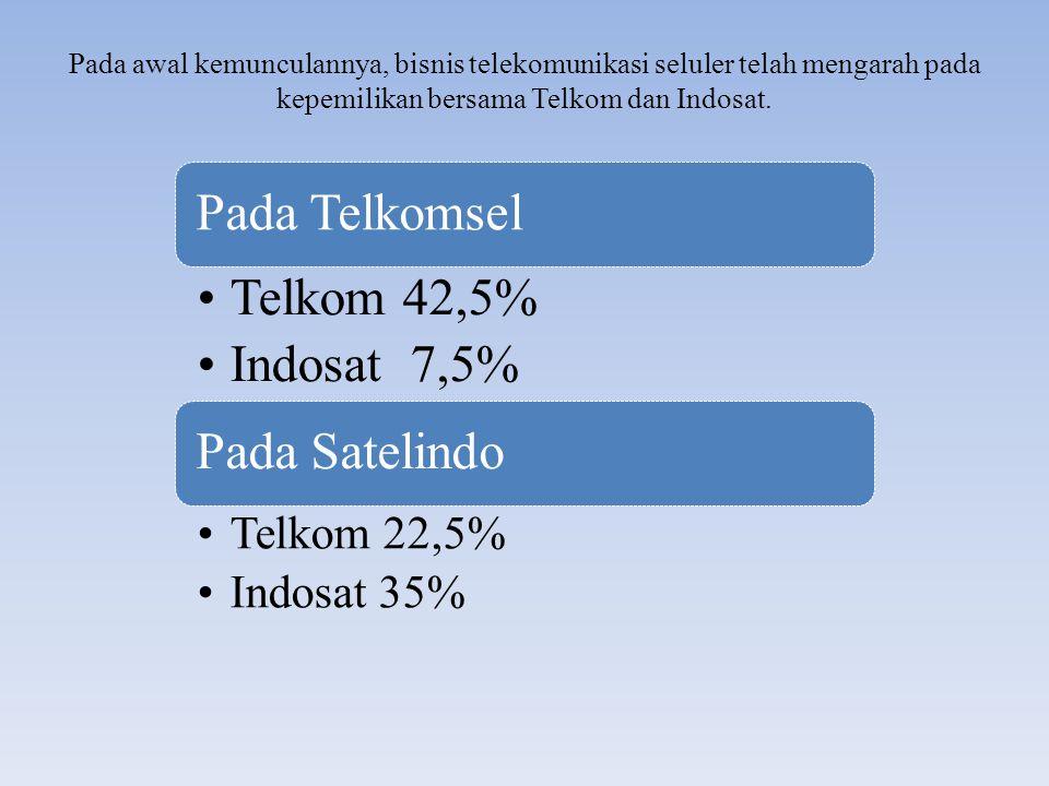 Pada Telkomsel Telkom 42,5% Indosat 7,5% Pada Satelindo Telkom 22,5%