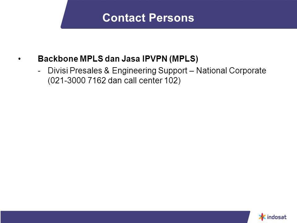 Contact Persons Backbone MPLS dan Jasa IPVPN (MPLS)