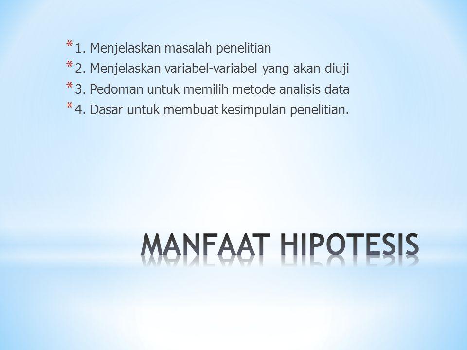 MANFAAT HIPOTESIS 1. Menjelaskan masalah penelitian