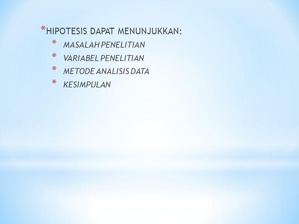 HIPOTESIS DAPAT MENUNJUKKAN: