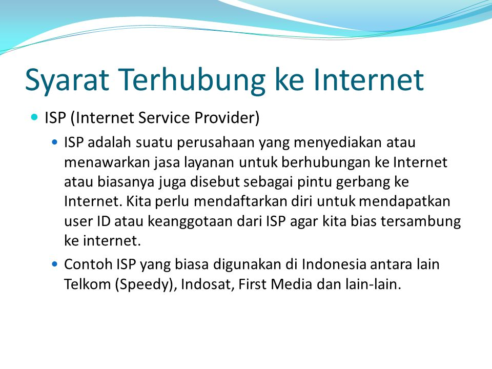 Syarat Terhubung ke Internet