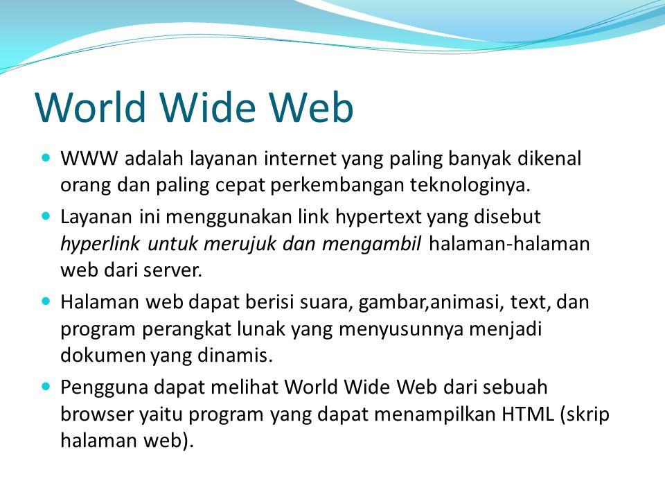 World Wide Web WWW adalah layanan internet yang paling banyak dikenal orang dan paling cepat perkembangan teknologinya.