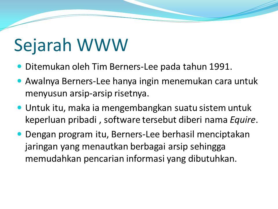 Sejarah WWW Ditemukan oleh Tim Berners-Lee pada tahun 1991.