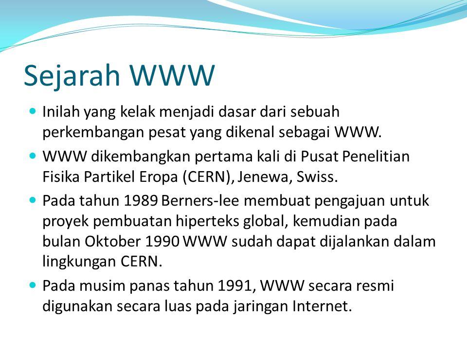 Sejarah WWW Inilah yang kelak menjadi dasar dari sebuah perkembangan pesat yang dikenal sebagai WWW.