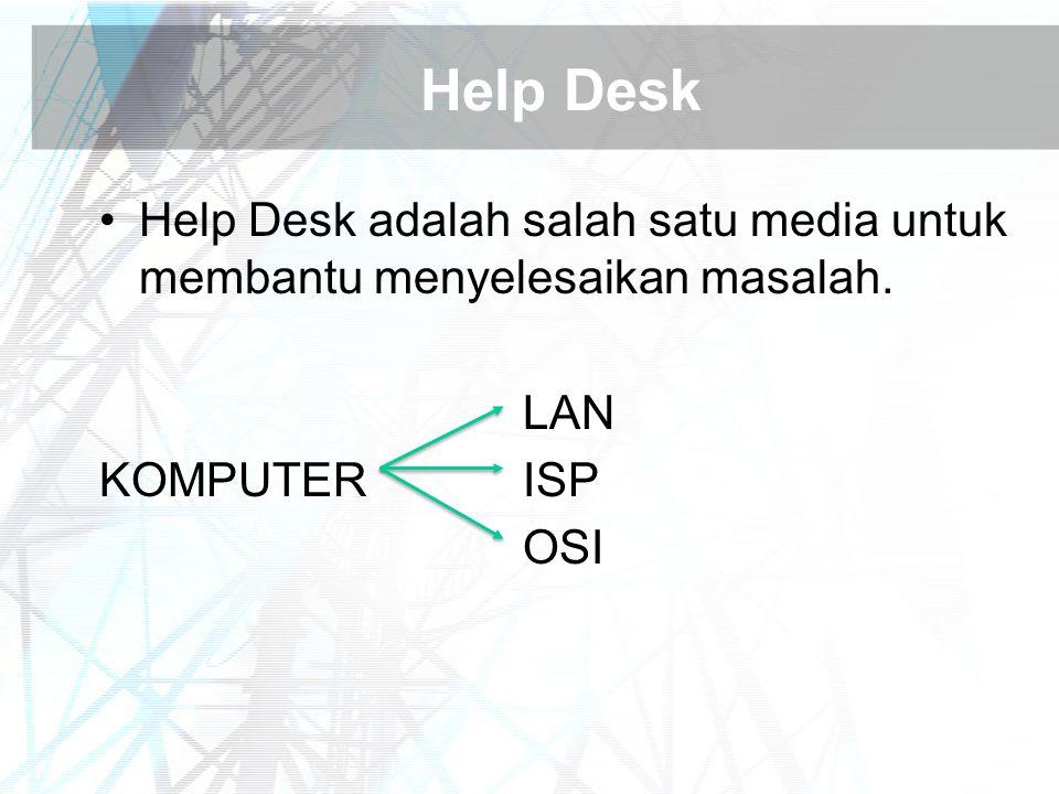 Help Desk Help Desk adalah salah satu media untuk membantu menyelesaikan masalah. LAN. KOMPUTER ISP.