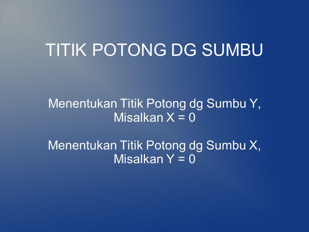 TITIK POTONG DG SUMBU Menentukan Titik Potong dg Sumbu Y,