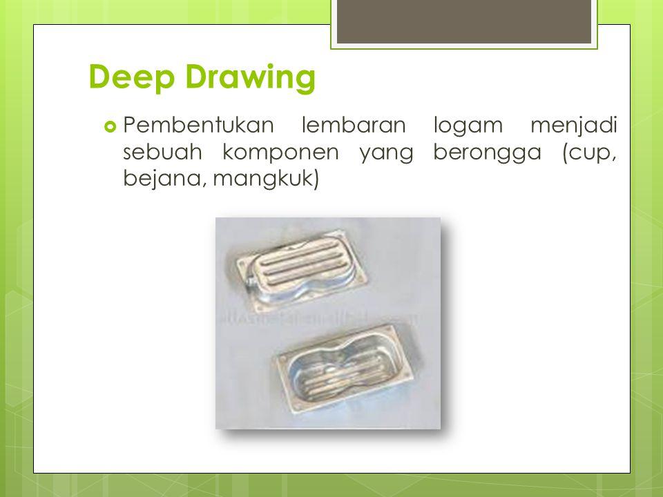 Deep Drawing Pembentukan lembaran logam menjadi sebuah komponen yang berongga (cup, bejana, mangkuk)