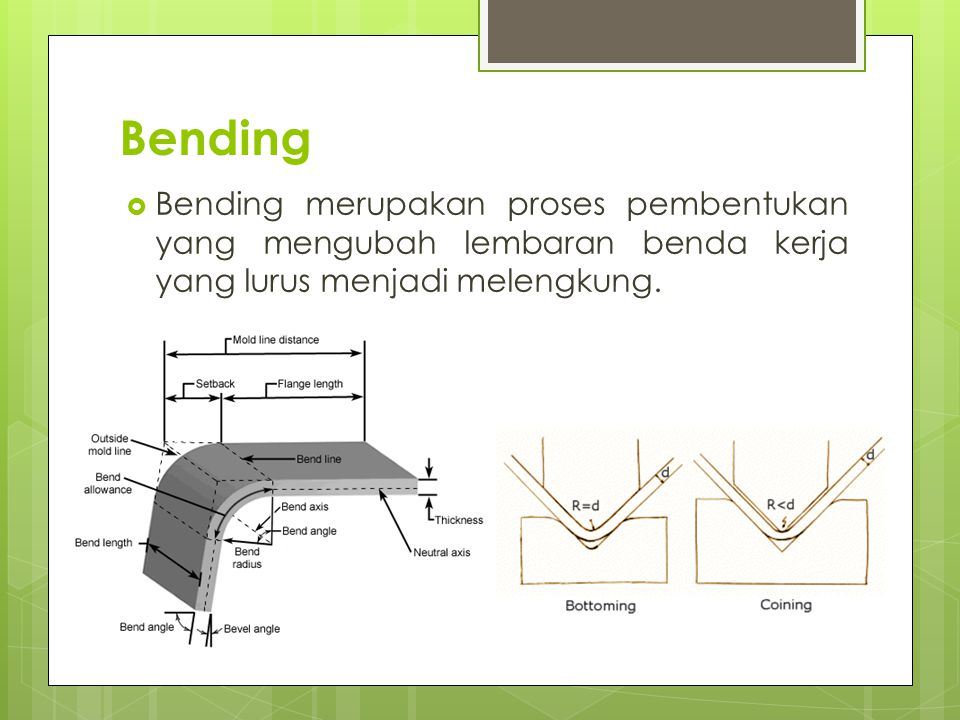 Bending Bending merupakan proses pembentukan yang mengubah lembaran benda kerja yang lurus menjadi melengkung.