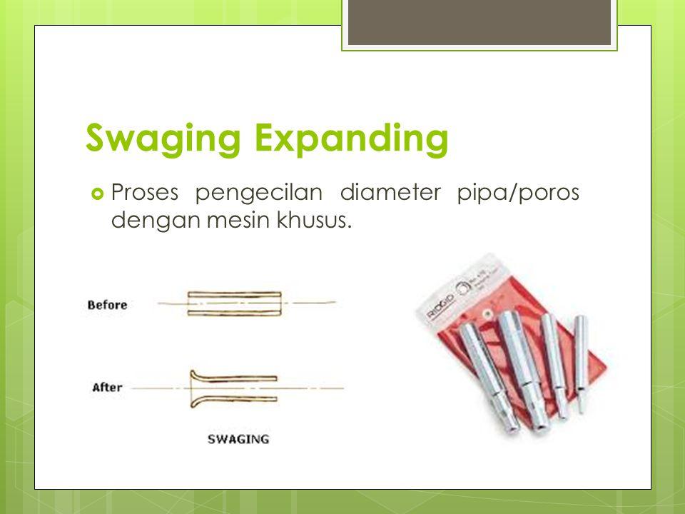 Swaging Expanding Proses pengecilan diameter pipa/poros dengan mesin khusus.