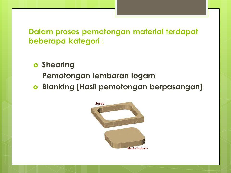 Dalam proses pemotongan material terdapat beberapa kategori :