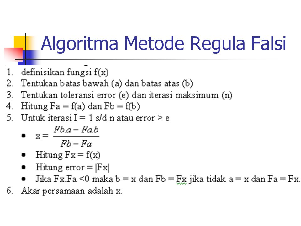 Algoritma Metode Regula Falsi