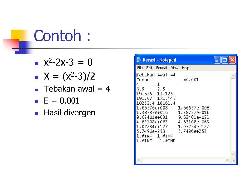 Contoh : x2-2x-3 = 0 X = (x2-3)/2 Tebakan awal = 4 E = 0.001