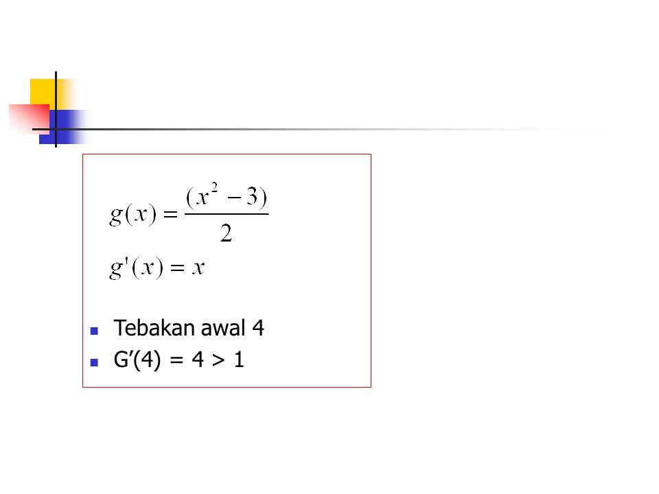 Tebakan awal 4 G'(4) = 4 > 1