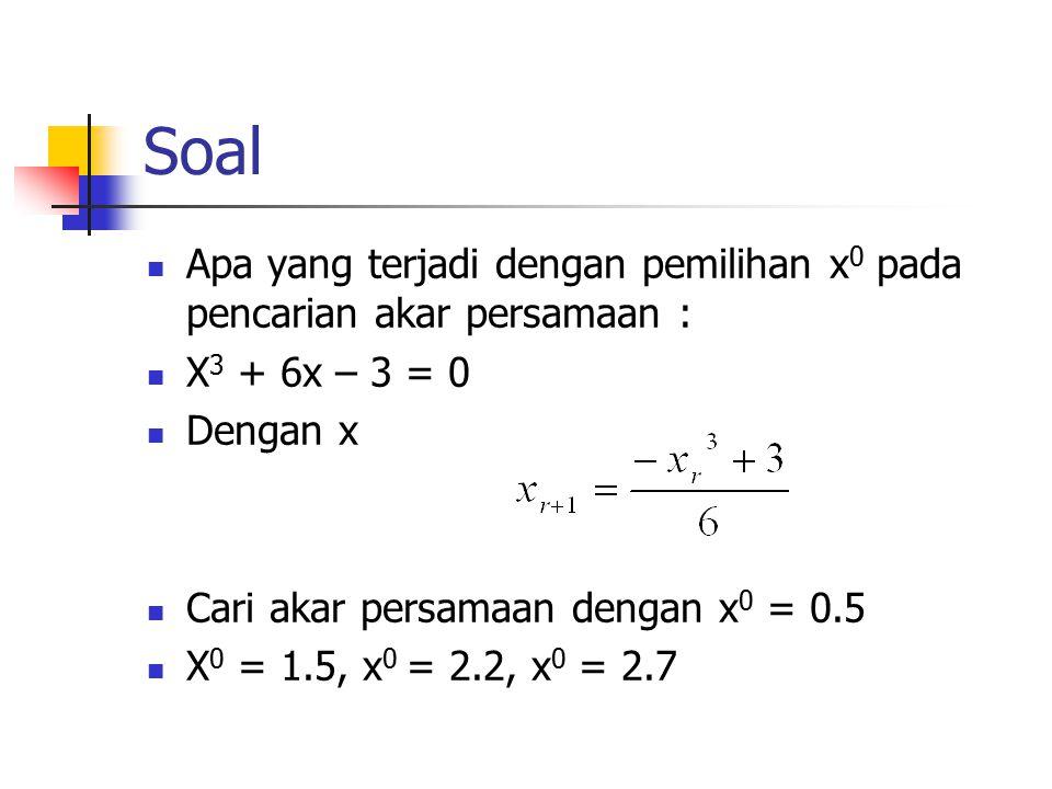 Soal Apa yang terjadi dengan pemilihan x0 pada pencarian akar persamaan : X3 + 6x – 3 = 0. Dengan x.