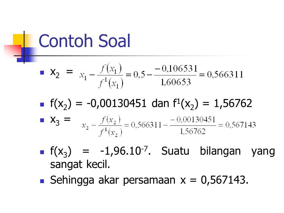 Contoh Soal x2 = f(x2) = -0,00130451 dan f1(x2) = 1,56762 x3 =