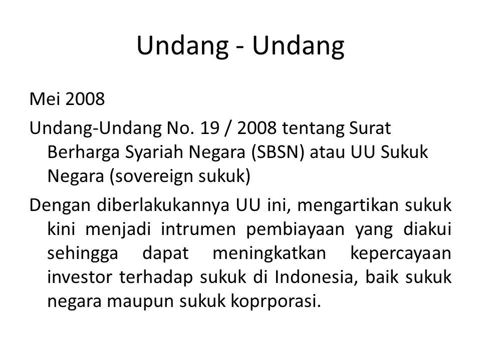 Undang - Undang Mei 2008. Undang-Undang No. 19 / 2008 tentang Surat Berharga Syariah Negara (SBSN) atau UU Sukuk Negara (sovereign sukuk)