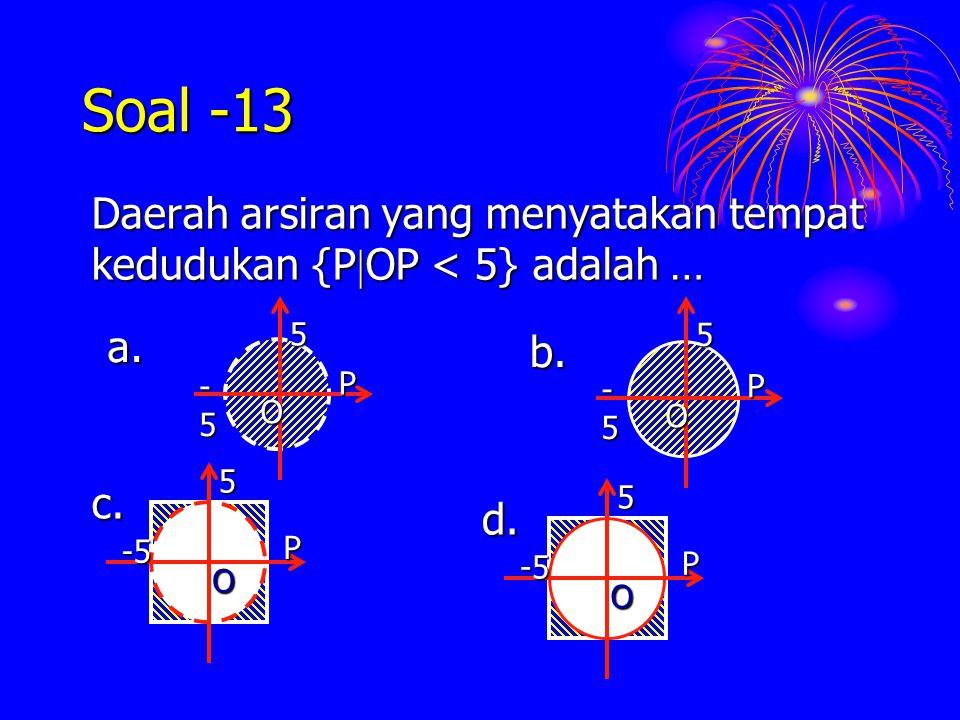 Soal -13 Daerah arsiran yang menyatakan tempat kedudukan {POP < 5} adalah … O. P. -5. 5. a. O.