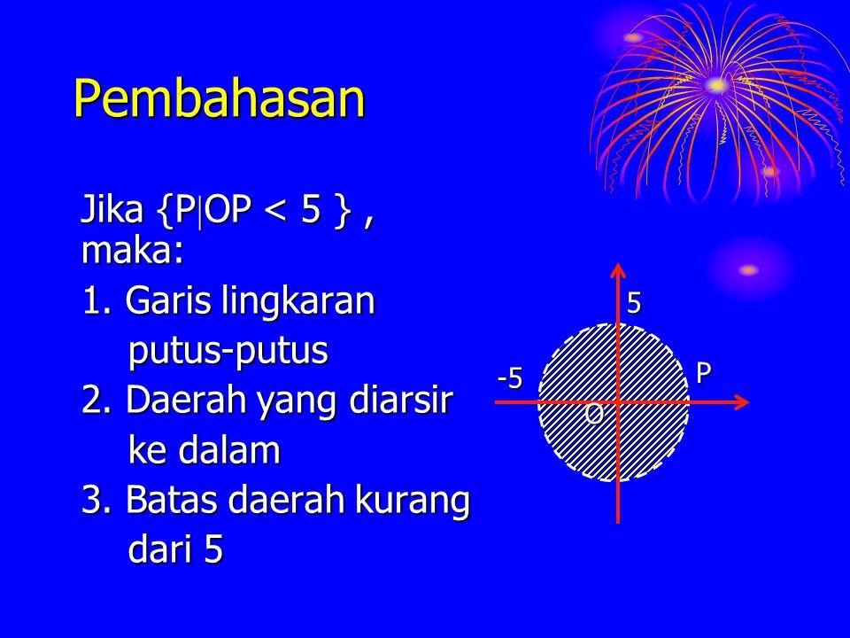 Pembahasan Jika {POP < 5 } , maka: 1. Garis lingkaran putus-putus