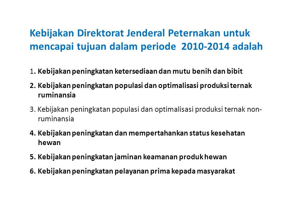 Kebijakan Direktorat Jenderal Peternakan untuk mencapai tujuan dalam periode 2010-2014 adalah