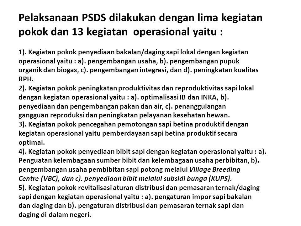 Pelaksanaan PSDS dilakukan dengan lima kegiatan pokok dan 13 kegiatan operasional yaitu :
