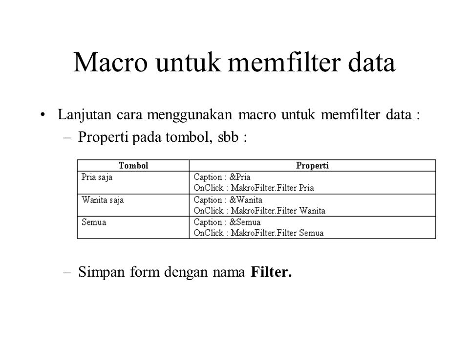 Macro untuk memfilter data