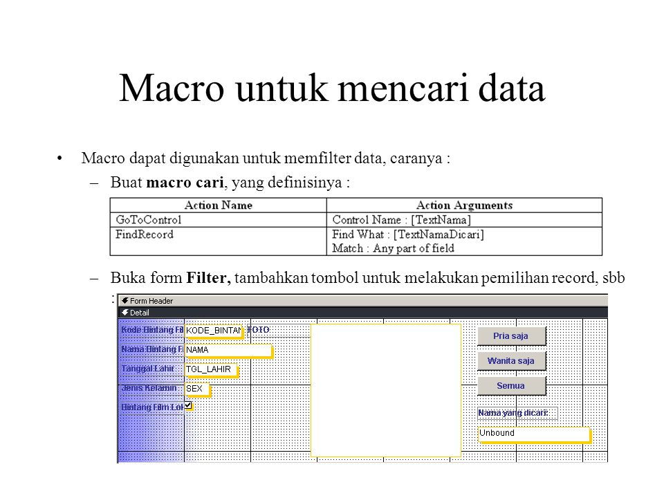 Macro untuk mencari data