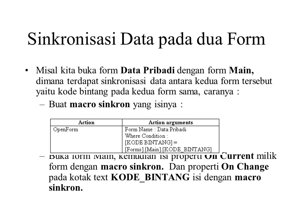 Sinkronisasi Data pada dua Form