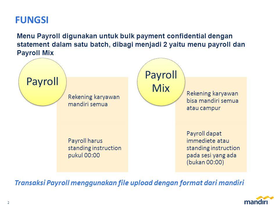 FUNGSI Menu Payroll digunakan untuk bulk payment confidential dengan statement dalam satu batch, dibagi menjadi 2 yaitu menu payroll dan Payroll Mix.