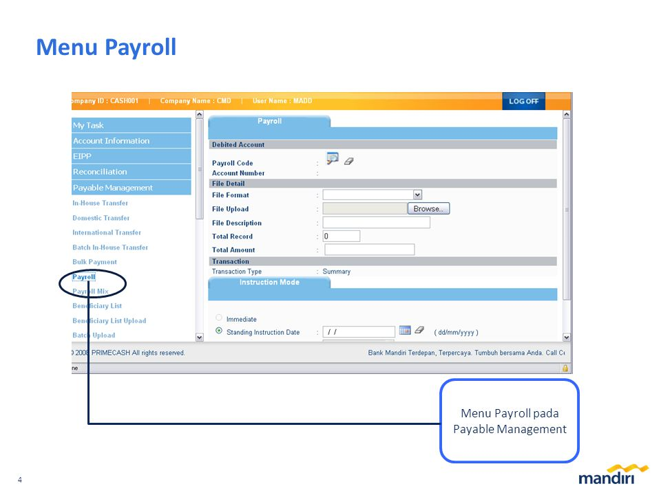 Menu Payroll pada Payable Management