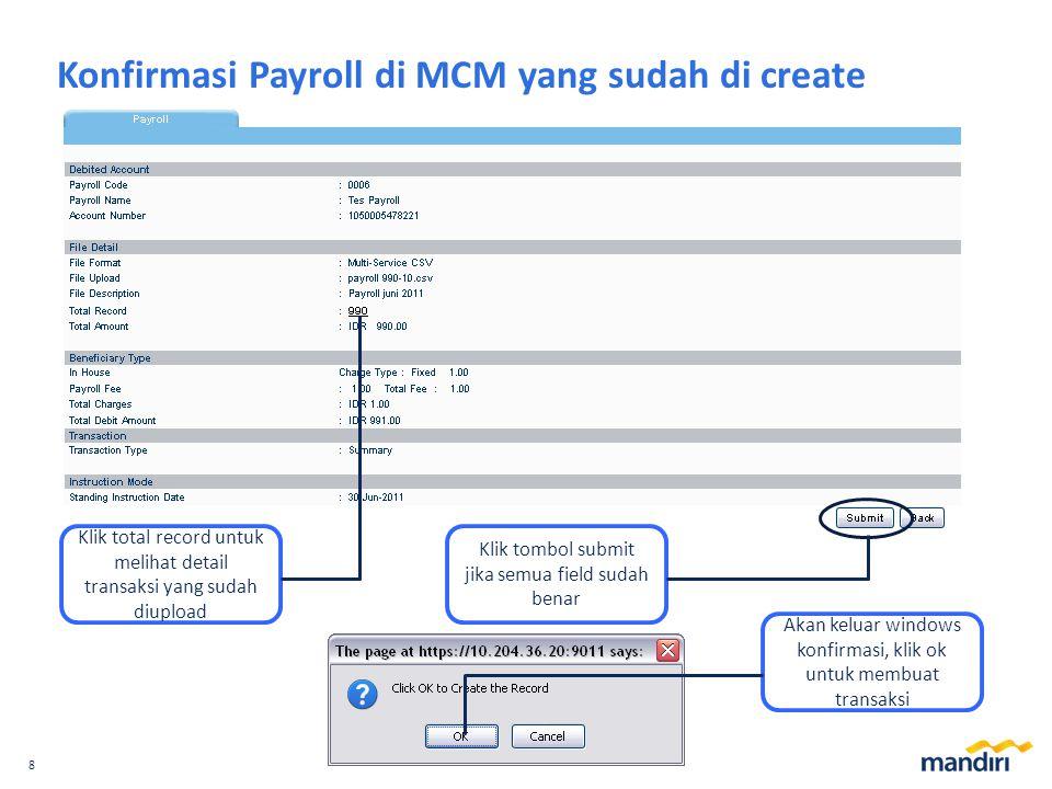 Konfirmasi Payroll di MCM yang sudah di create
