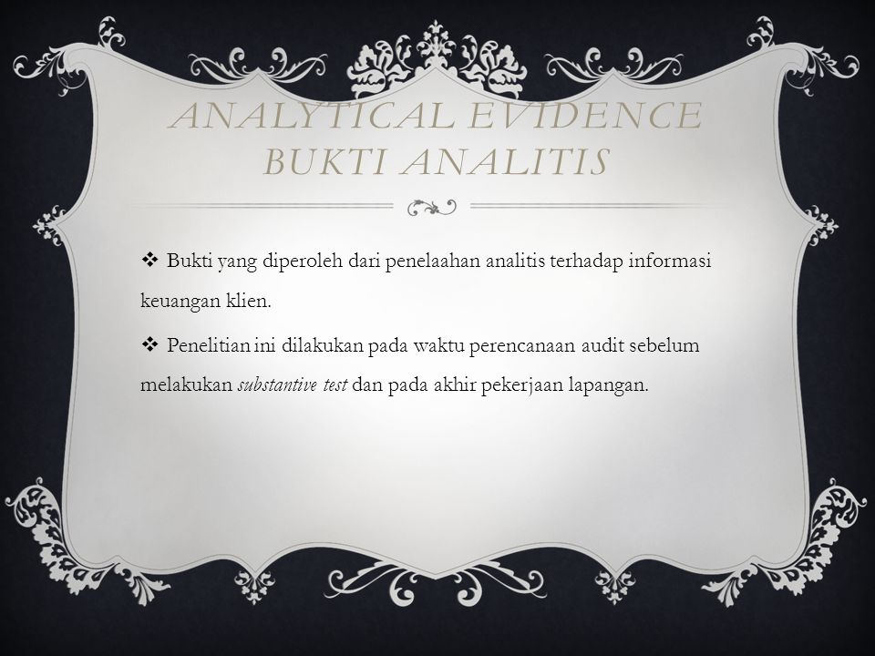 Analytical evidence Bukti analitis