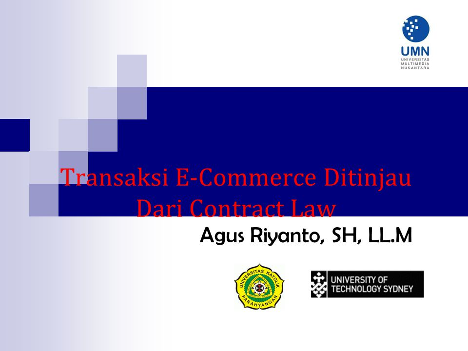 Transaksi E-Commerce Ditinjau Dari Contract Law