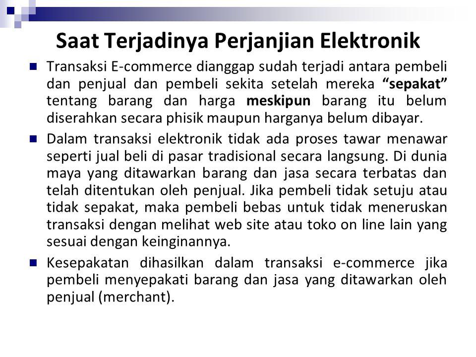 Saat Terjadinya Perjanjian Elektronik