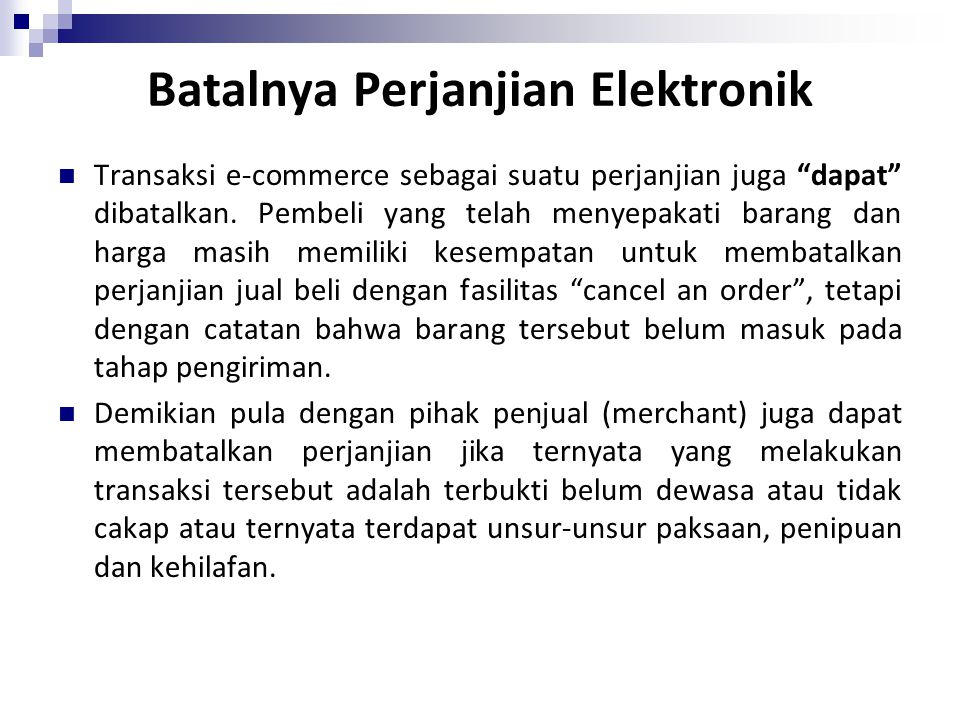 Batalnya Perjanjian Elektronik
