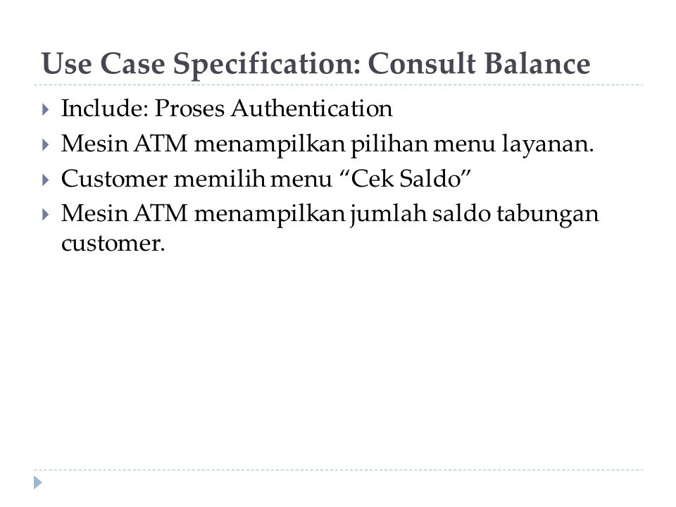 Use Case Specification: Consult Balance