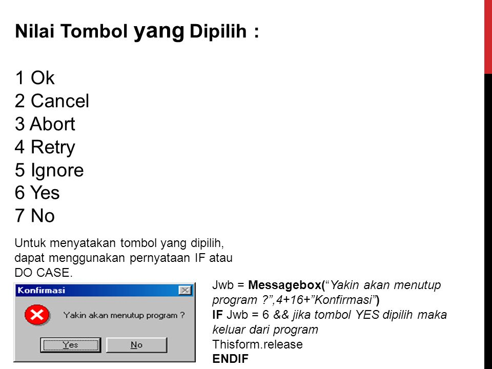Nilai Tombol yang Dipilih : 1 Ok 2 Cancel 3 Abort 4 Retry 5 Ignore