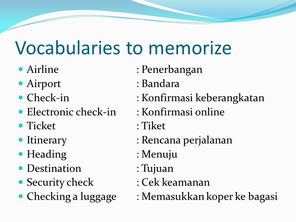 Vocabularies to memorize