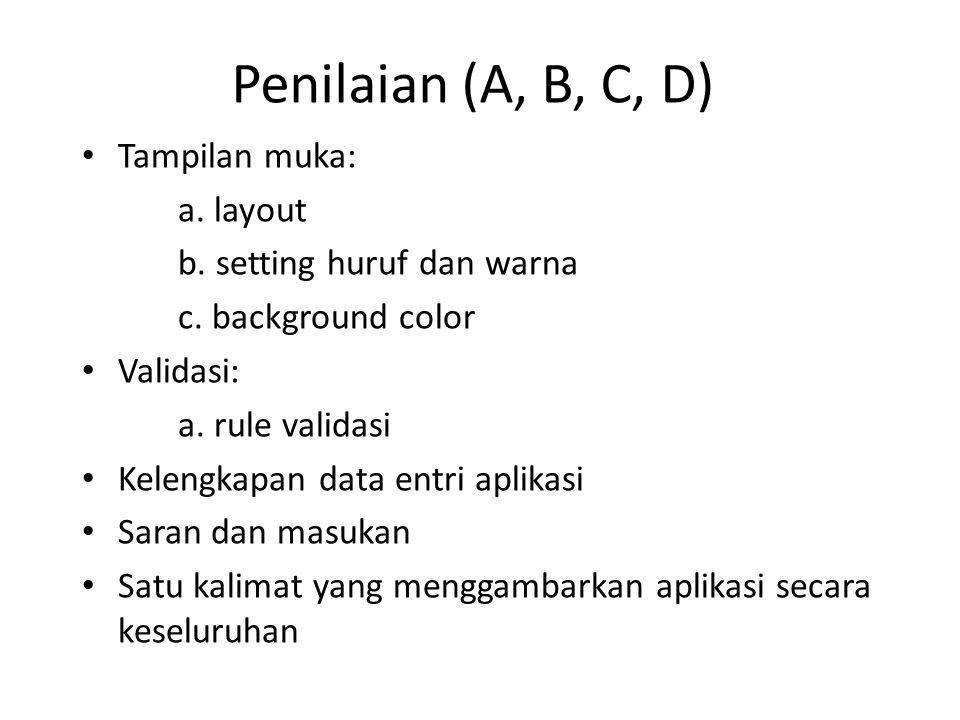 Penilaian (A, B, C, D) Tampilan muka: a. layout