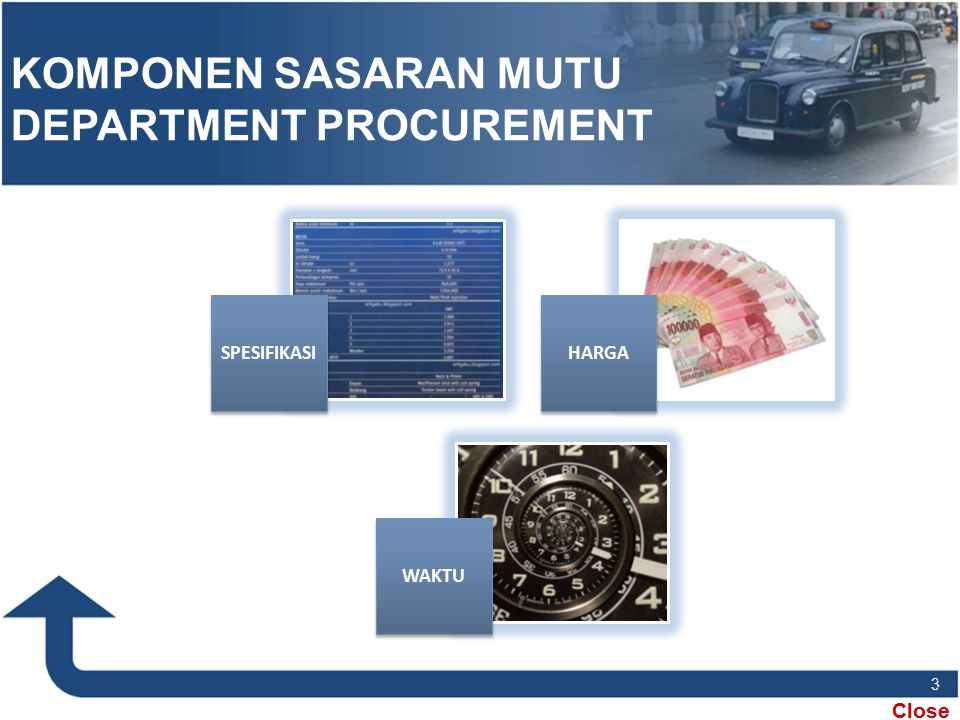 KOMPONEN SASARAN MUTU DEPARTMENT PROCUREMENT
