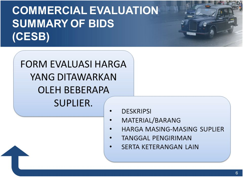 COMMERCIAL EVALUATION SUMMARY OF BIDS (CESB)