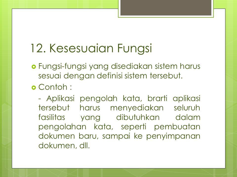 12. Kesesuaian Fungsi Fungsi-fungsi yang disediakan sistem harus sesuai dengan definisi sistem tersebut.