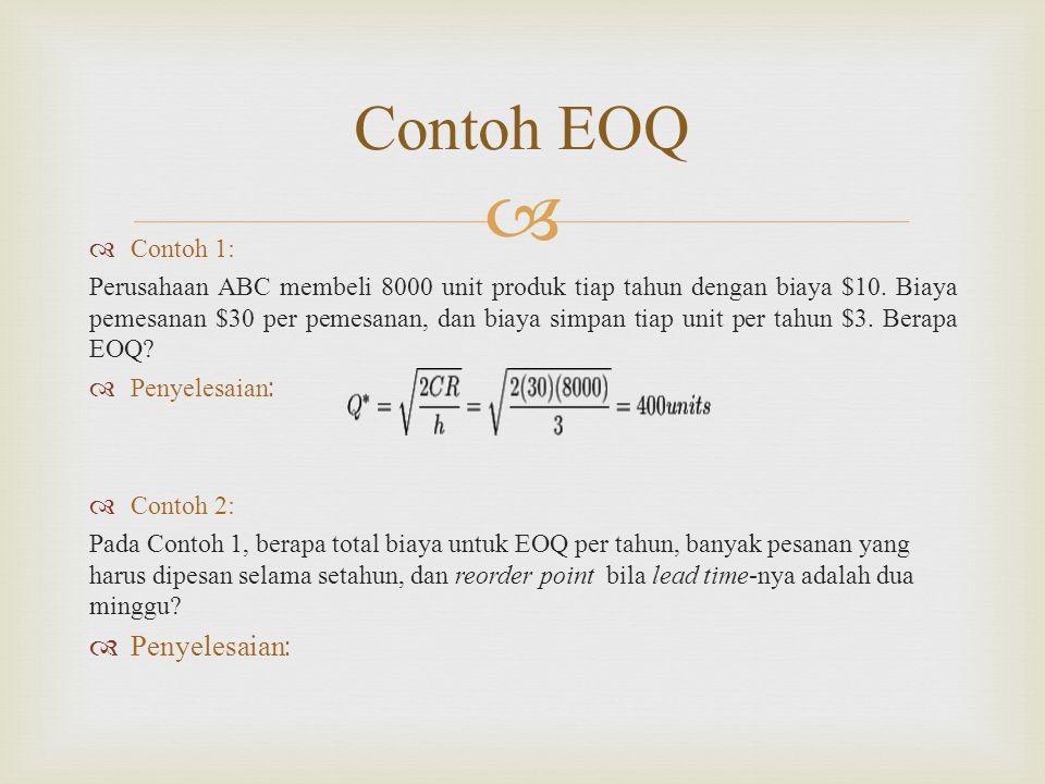 Contoh EOQ Contoh 1: